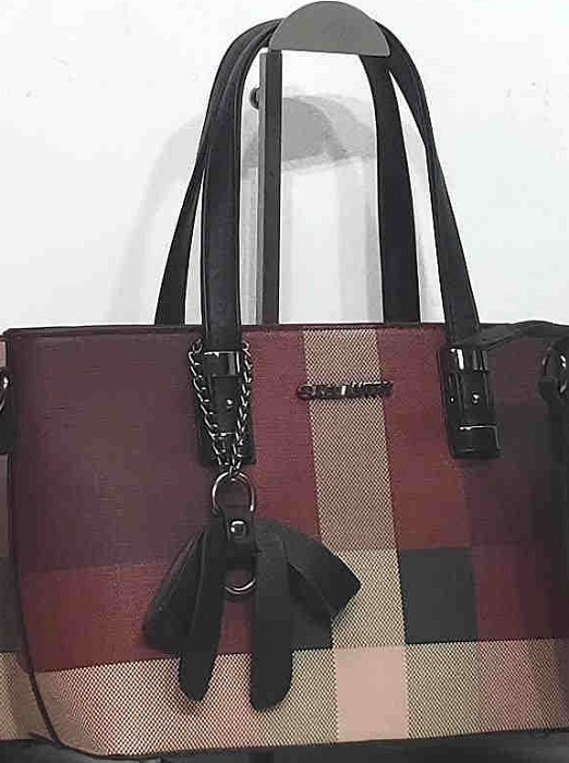 handbag 0919514-10 mini tote tartan print rigid textured imitation-leather synthetic 33x20x12cm