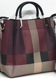 handbag 0919515-10 tartan print rigid textured imitation-leather synthetic 25x25x12cm