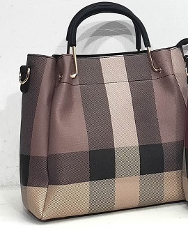 handbag 0919515-30 tartan print rigid textured imitation-leather synthetic 25x25x12cm