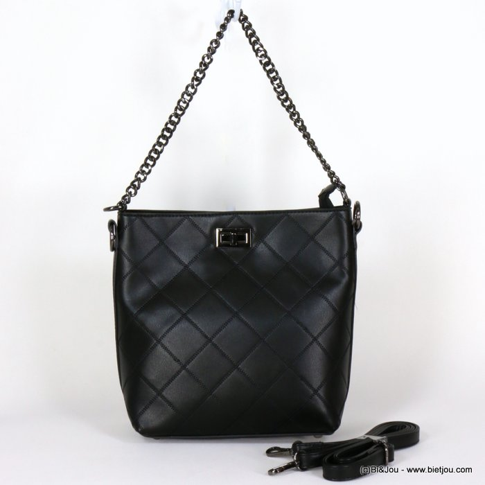 handbag 0919528-01 shoulder checked stitching metal chain turn lock rigid imitation-leather synthetic 27x25x12cm