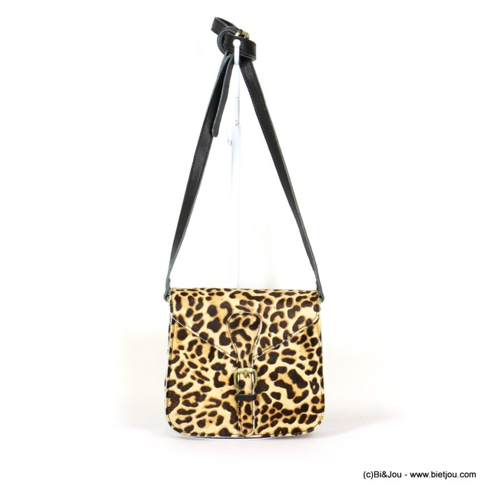 hangbag 0919539-06 GENUINE LEATHER leopard crossbody strap flap tab magnetic clasp 19x17x8cm