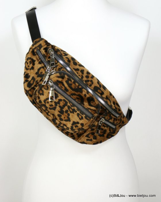 hangbag 0919543-06 banana leopard imitation leather 6 zips 30x14x10cm