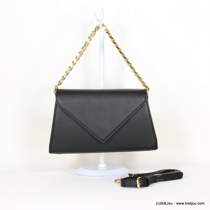 hangbag 0919544-01 chain handle imitation leather 2 compartments triangle flap magnetic clasp 25x14x7cm