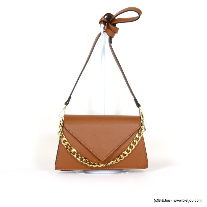 hangbag 0919544-02 chain handle imitation leather 2 compartments triangle flap magnetic clasp 25x14x7cm