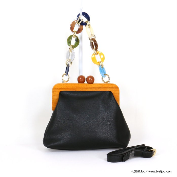 handbag 0919546-01 purse shape imitation leather metal resin rings handle wood clasp 23x17x8cm
