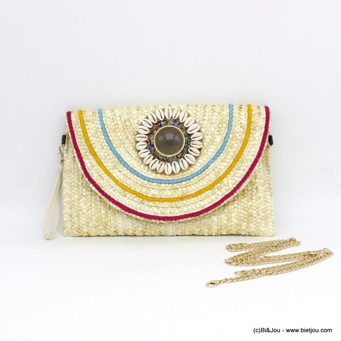 handbag 0920001-06 clutch top zip paper straw 33x20.5cm