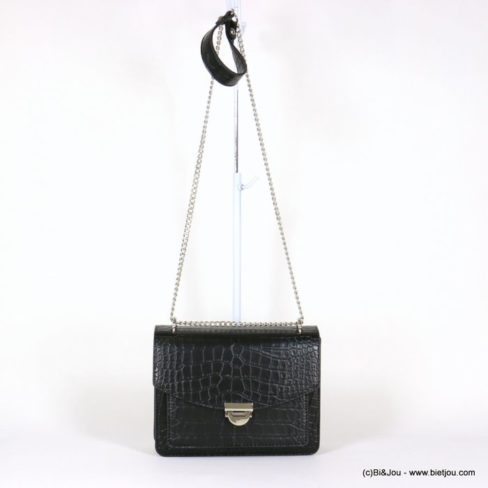 handbag 0920008-01 chain shoulder box chain croco style imitation-leather synthetic 22x17x9.5cm