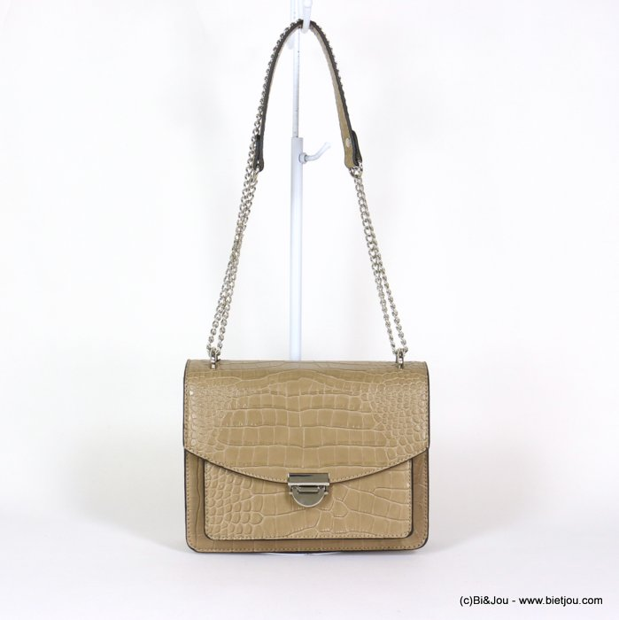 handbag 0920008-06 chain shoulder box chain croco style imitation-leather synthetic 22x17x9.5cm