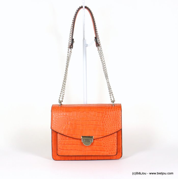 handbag 0920008-11 chain shoulder box chain croco style imitation-leather synthetic 22x17x9.5cm