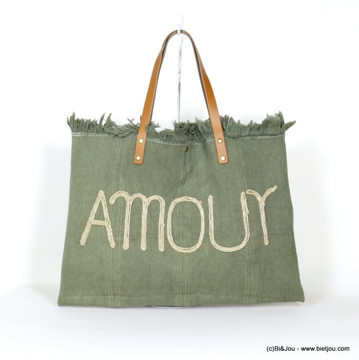 handbag 0920037-03 shoulder tote with AMOUR slogan 53x38cm cotton-leather