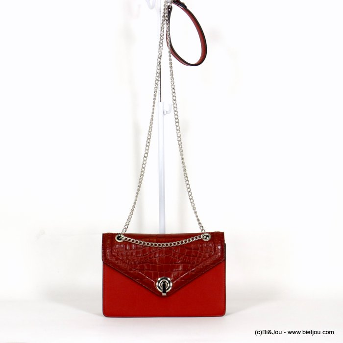 handbag 0920502-12 faux-leather rigid synthetic crocodile style flap shoulder strap metal chain 22x15x4.5cm