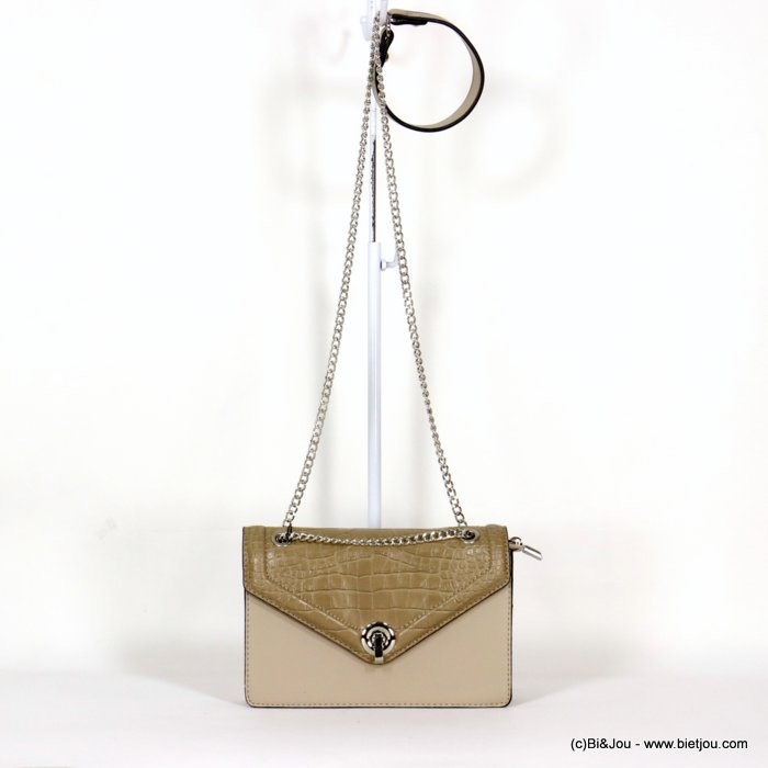 handbag 0920502-30 faux-leather rigid synthetic crocodile style flap shoulder strap metal chain 22x15x4.5cm