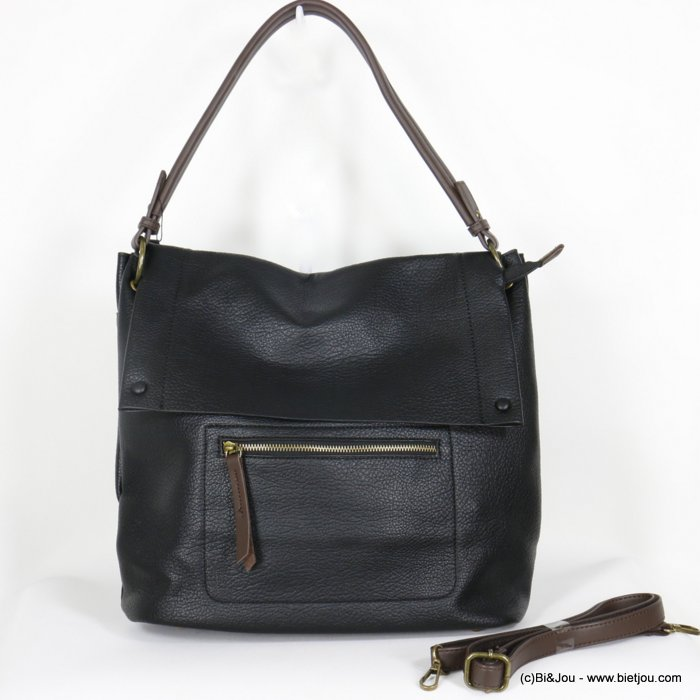 handbag 0920503-01 faux-leather synthetic grained with flap soft removable shoulder strap 38x33x12cm