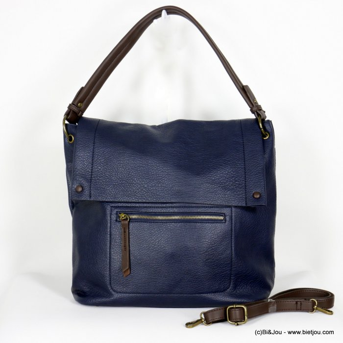 handbag 0920503-09 faux-leather synthetic grained with flap soft removable shoulder strap 38x33x12cm