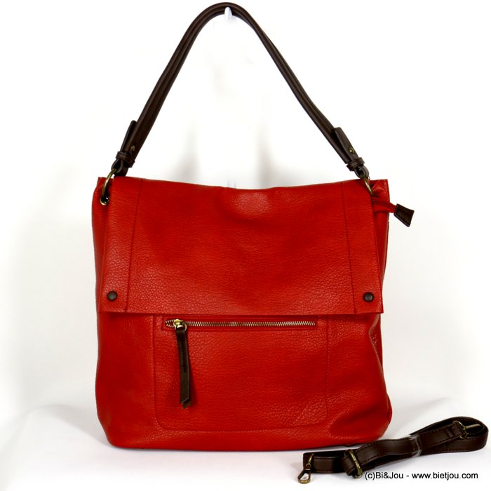 handbag 0920503-12 faux-leather synthetic grained with flap soft removable shoulder strap 38x33x12cm