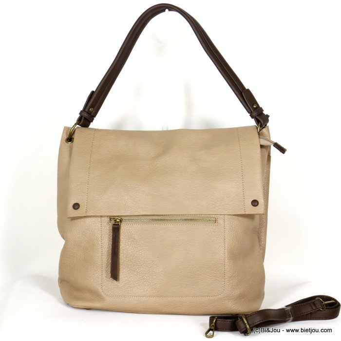 handbag 0920503-30 faux-leather synthetic grained with flap soft removable shoulder strap 38x33x12cm