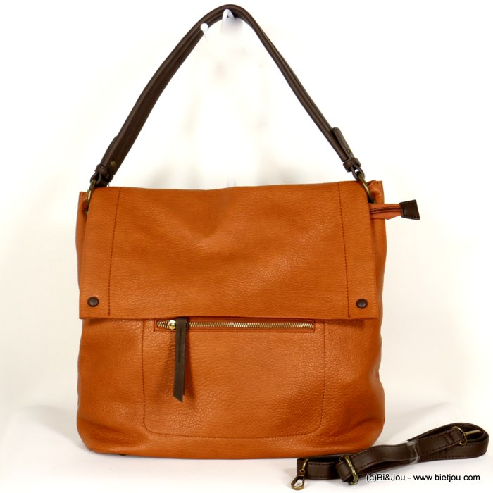 handbag 0920503-42 faux-leather synthetic grained with flap soft removable shoulder strap 38x33x12cm