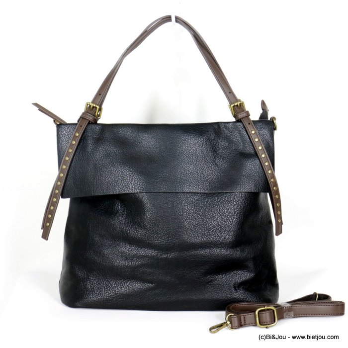 handbag 0920505-01 faux-leather synthetic grained with flap and strap nails soft removable shoulder strap 36x30x12cm