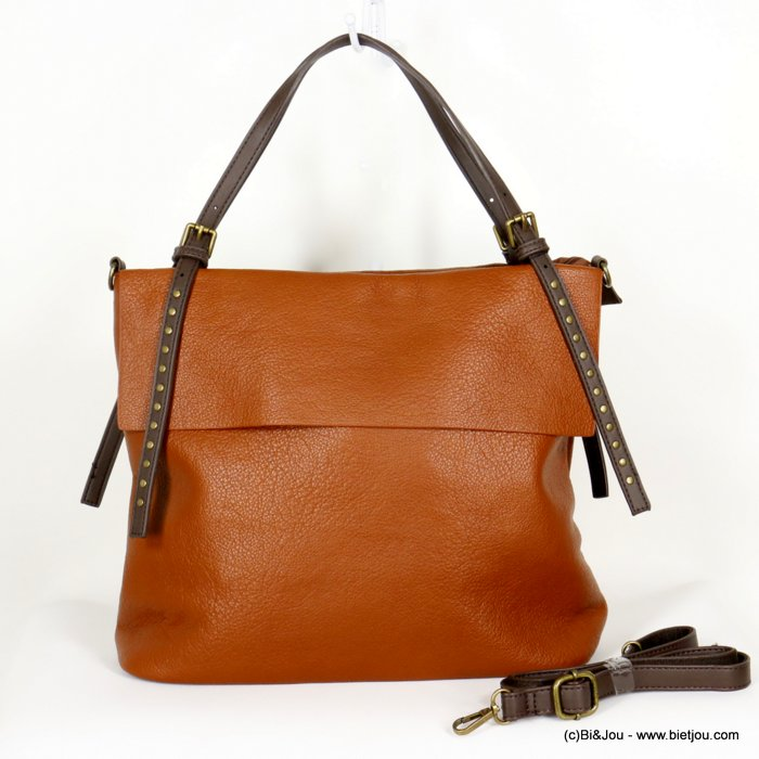 handbag 0920505-42 faux-leather synthetic grained with flap and strap nails soft removable shoulder strap 36x30x12cm