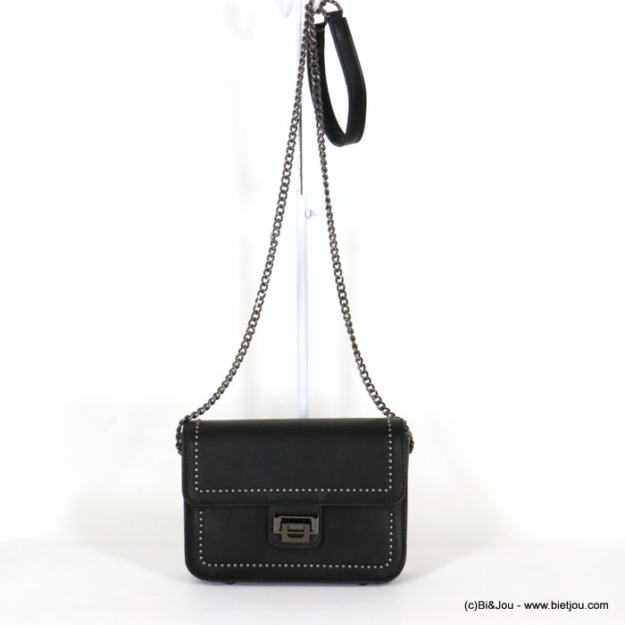 handbag 0920506-01 faux-leather synthetic round nails rigid shoulder strap metal chain 21x15x7.5cm