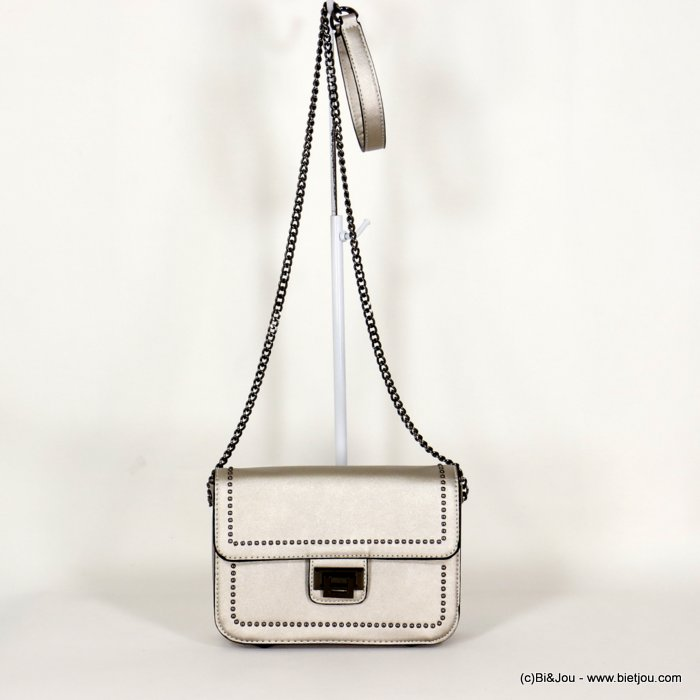 handbag 0920506-13 faux-leather synthetic round nails iridescent rigid shoulder strap metal chain 21x15x7.5cm