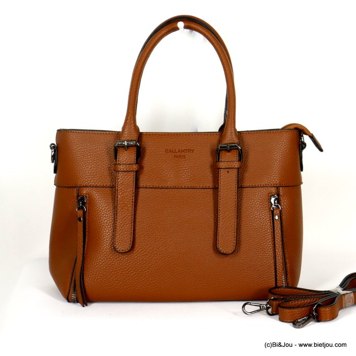 handbag 0920507-02 faux-leather synthetic grained semi-rigid removable shoulder strap 33x23x12cm