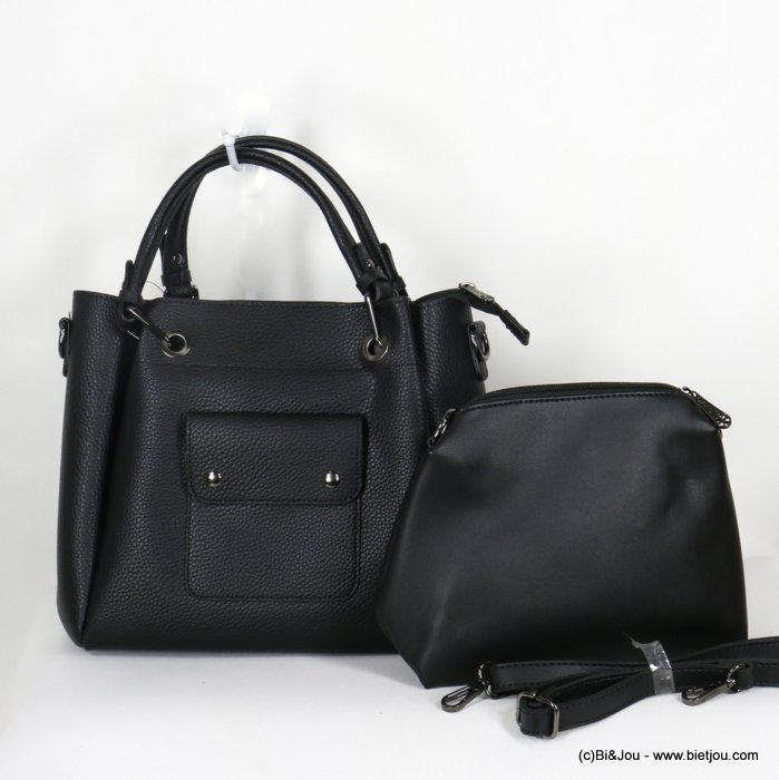 handbag 0920508-01 faux-leather synthetic grained semi-rigid with removable interior pouch and shoulder strap 27x25x10cm