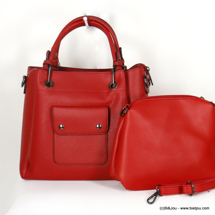 handbag 0920508-12 faux-leather synthetic grained semi-rigid with removable interior pouch and shoulder strap 27x25x10cm