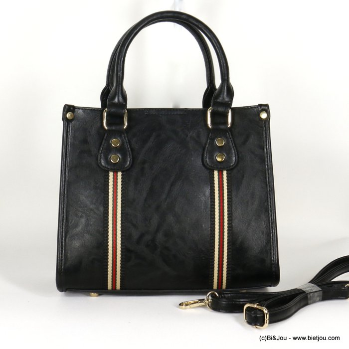 handbag 0920509-01 faux-leather synthetic with colored fabric band rigid removable shoulder strap 25x21x12cm