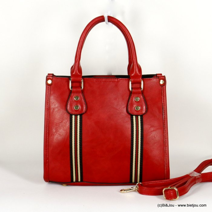 handbag 0920509-12 faux-leather synthetic with colored fabric band rigid removable shoulder strap 25x21x12cm