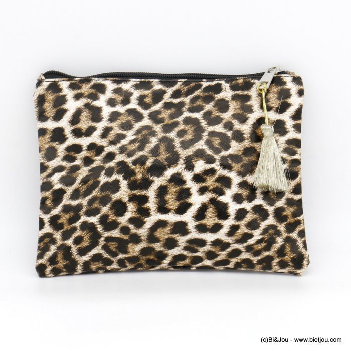 handbag 0920510-11 wallet leopard pattern with pompom in polyurethan for woman 21.5x15.5cm