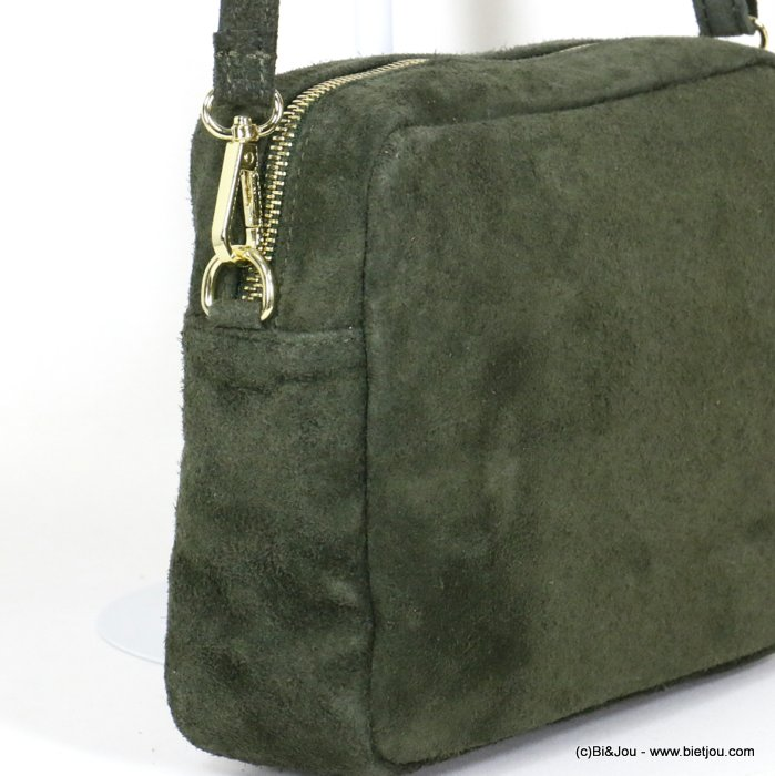 handbag 0920515-07 suede style GENUINE LEATHER woman 24x17x7cm