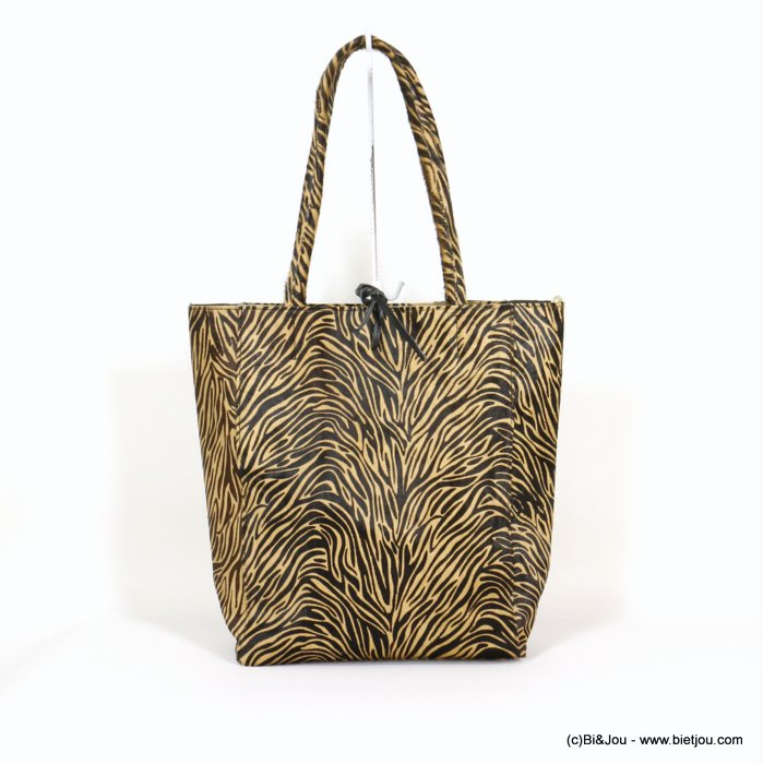 handbag 0920516-02 tiger print short-haired GENUINE LEATHER woman 38x25x14cm