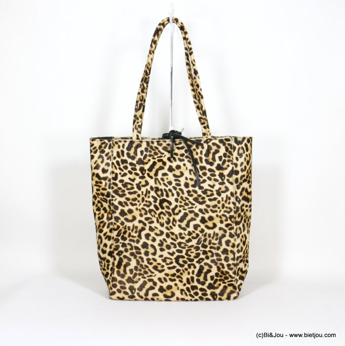 handbag 0920517-02 leopard print short-haired GENUINE LEATHER woman 38x25x14cm