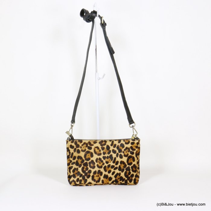 handbag 0920525-02 clutch shoulder GENUINE LEATHER leopard print short-haired woman 25x16x3cm