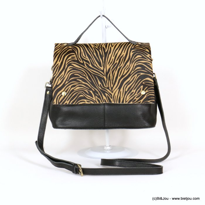 handbag 0920526-01 GENUINE LEATHER tiger print short-haired flap woman 28x22x13cm