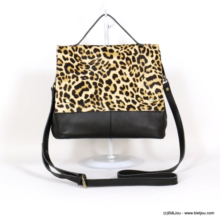 handbag 0920527-01 GENUINE LEATHER leopard print short-haired flap woman 28x22x13cm