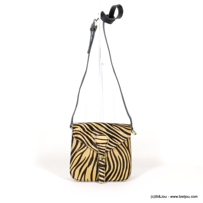 handbag 0920528-02 GENUINE LEATHER tiger print short-haired woman 19x18x8cm