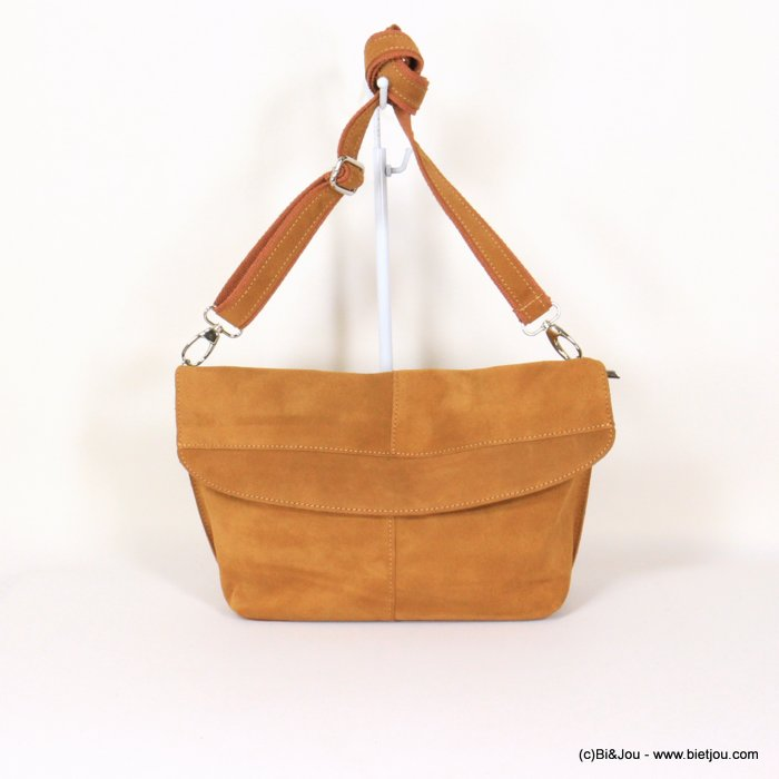 handbag 0921004-42 36x21x12cm GENUINE LEATHER suede style
