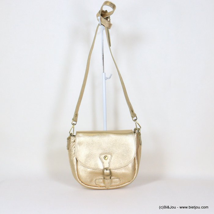 handbag 0921005-14 shiny golden saddlebag 21x18x6cm GENUINE LEATHER