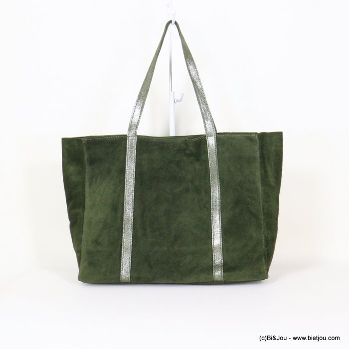 handbag 0921006-03 GENUINE LEATHER tote suede style 37x30x11cm