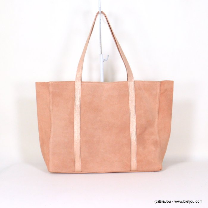 handbag 0921006-18 GENUINE LEATHER tote suede style 37x30x11cm