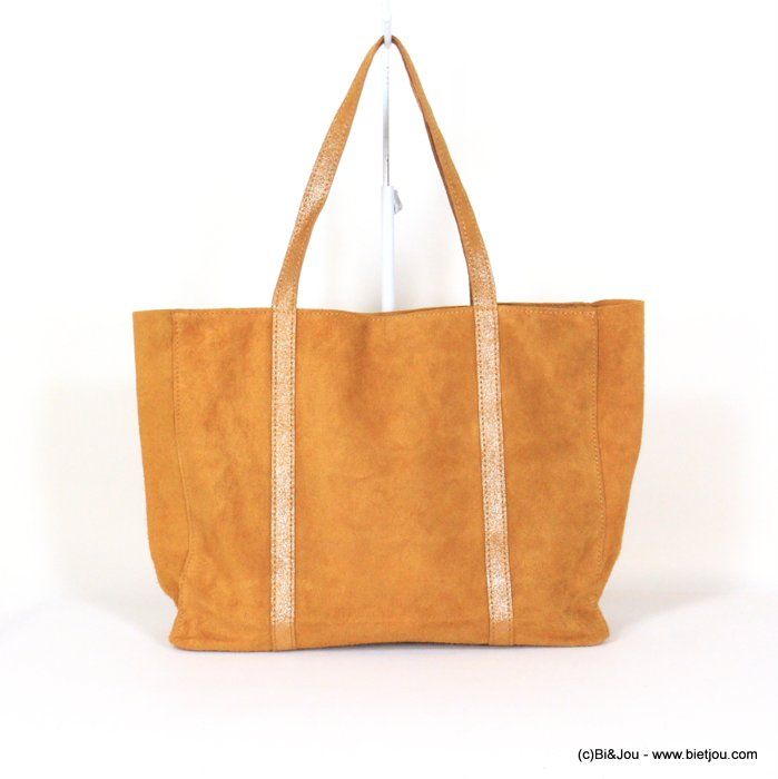handbag 0921006-43 GENUINE LEATHER tote suede style 37x30x11cm