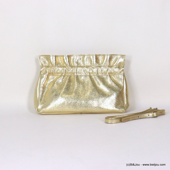handbag 0921007-14 shiny golden clutch shoulder GENUINE LEATHER woman 25x15x7.5cm