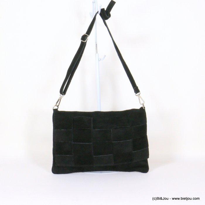 handbag 0921008-01 32x22cm braided GENUINE LEATHER suede style