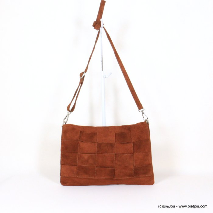 handbag 0921008-02 32x22cm braided GENUINE LEATHER suede style