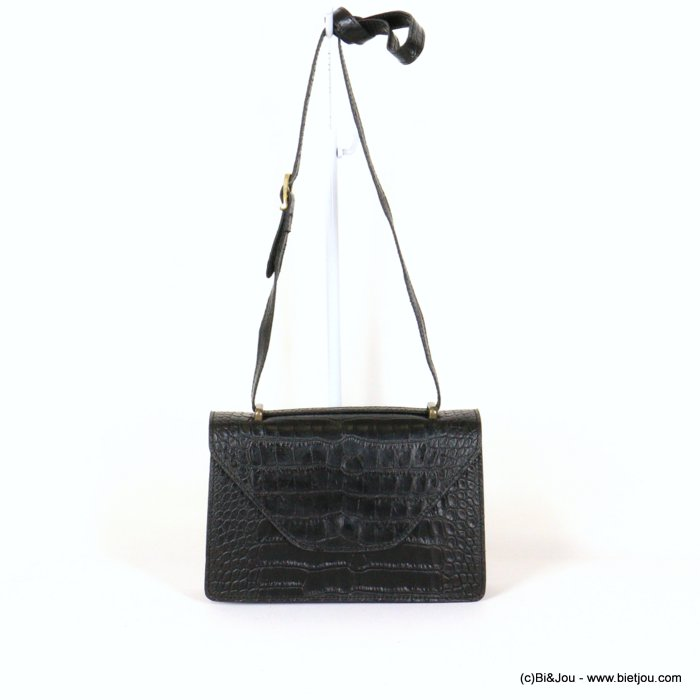 handbag 0921009-01 croco style GENUINE LEATHER 22x14x7cm