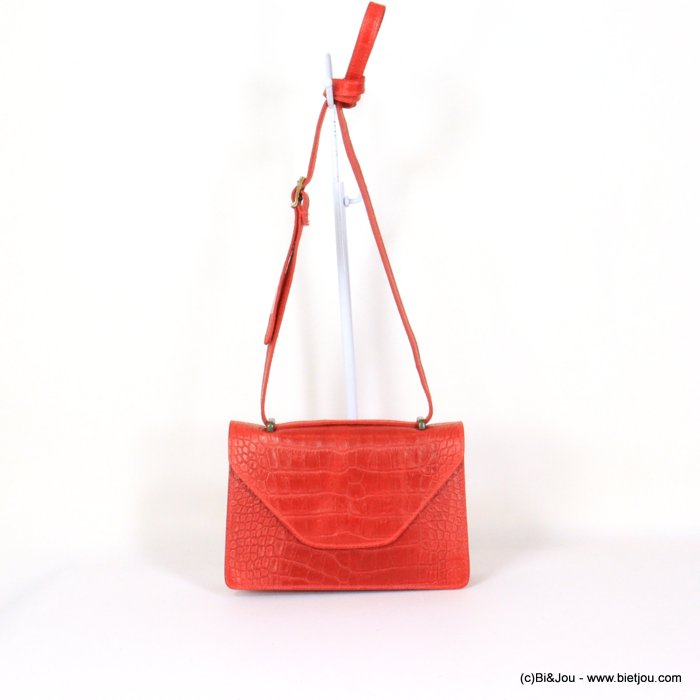 handbag 0921009-12 croco style GENUINE LEATHER 22x14x7cm