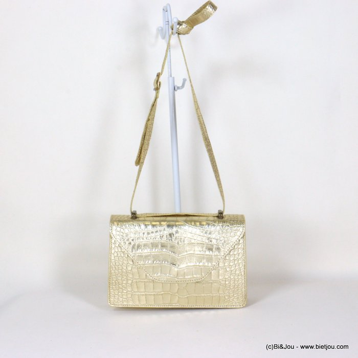 handbag 0921009-14 shiny golden croco style GENUINE LEATHER 22x14x7cm