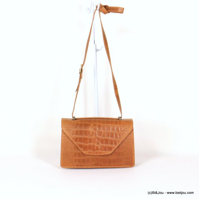 handbag 0921009-42 croco style GENUINE LEATHER 22x14x7cm
